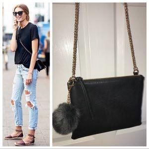 Handbags - Black Faux Leather Crossbody W/ Fur Puff Charm